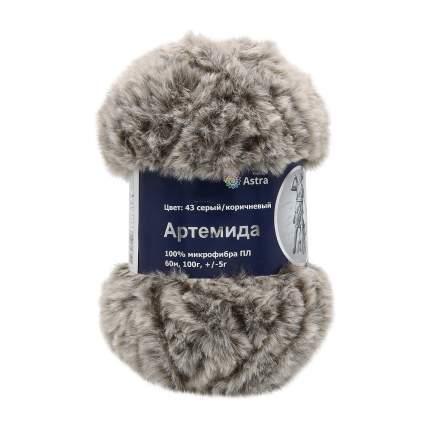 """Пряжа Astra Premium """"Артемида"""", 60 метров, 5 мотков по 100 грамм, цвет: 44 белый/коричневы"""