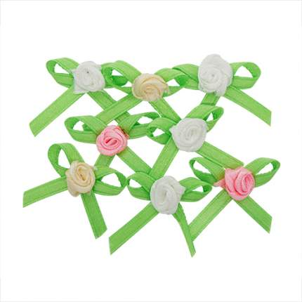 Цветочки декоративные из атласной ленты, 2 см, 12шт, ассорти,