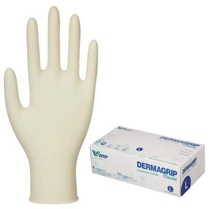 Перчатки латексные смотровые Dermagrip Classic D1503-10, 50 пар неопудренные, хлоринация L