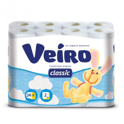 """Туалетная бумага Veiro """"Classic"""", 24 рулона, 17 метров x 9.5 см"""