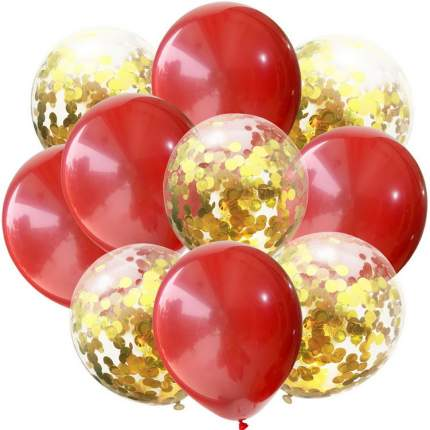 Набор АЙРИС воздушных шаров с пайетками 12см, 10шт/упак красный AR704