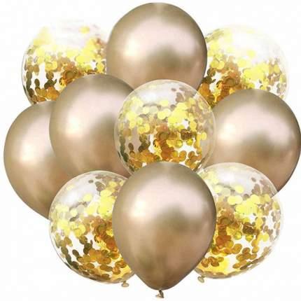Набор АЙРИС воздушных шаров с пайетками 12см, 10шт/упак золото AR704