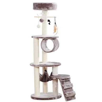 Когтеточка для кошек FOXIE трехуровневая с гамаком, лесенкой и игрушками 40х40х125см серая