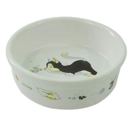 Миска для животных FOXIE Кошка с мышкой белая керамическая 13х4см 250мл