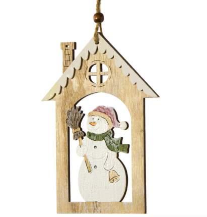 Елочная игрушка Hogewoning Домик Снеговика 51084-061 17 см 1 шт.
