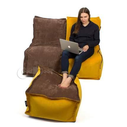 Бескаркасный модульный диван GoodPoof Деко 2 one size, микровельвет, Желтый/Коричневый