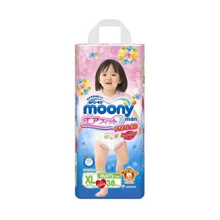 Подгузники-трусики для девочек Moony Man XL (12-17 кг), 38 шт.