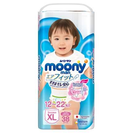 Подгузники-трусики для девочек Moony Man XL (12-22 кг), 38 шт.