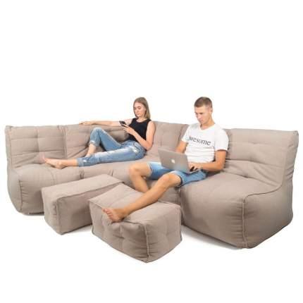 Бескаркасный модульный диван GoodPoof Мод L-III+ one size, рогожка, Beige Convas
