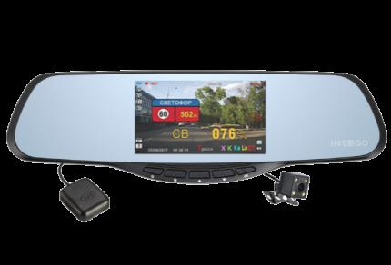 Зеркало 4 в 1 INTEGO VX-685MR HD/VGA (видеорегистратор,антирадар,GPS,камера заднего вида)