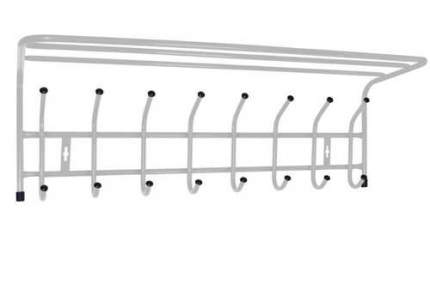Вешалка настенная с полкой Ника ВП8 (8 крючков, 800х238х268мм) цвет-серебро