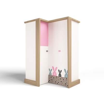 Шкаф угловой ABC-KING , гармошка MIX BUNNY розовый, левый