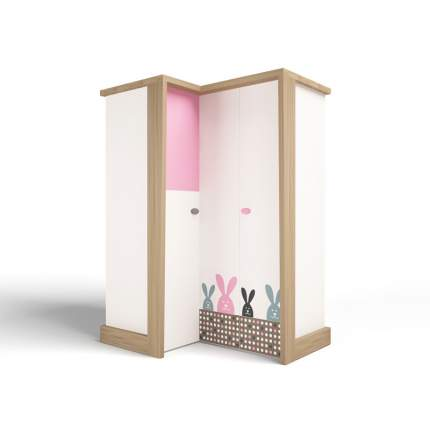 Шкаф угловой ABC-KING , гармошка MIX BUNNY розовый, правый