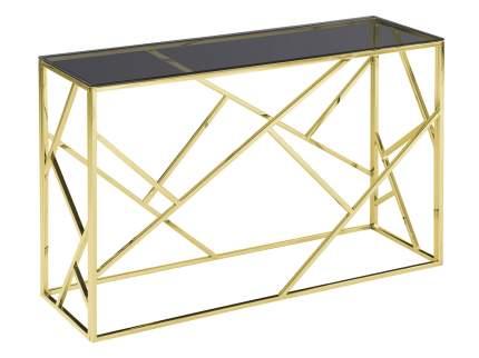 Консоль ECST-015-RG-SK (120x40) Темное стекло / Сталь, золото