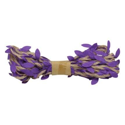 Декоративная веревка с листиками, 3м. фиолетовый