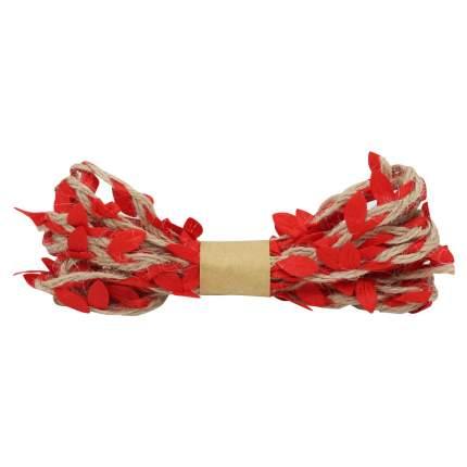 Декоративная веревка с листиками, 3м. красный