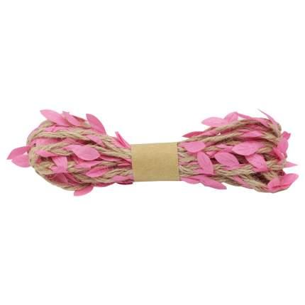 Декоративная веревка с листиками, 3м. розовый