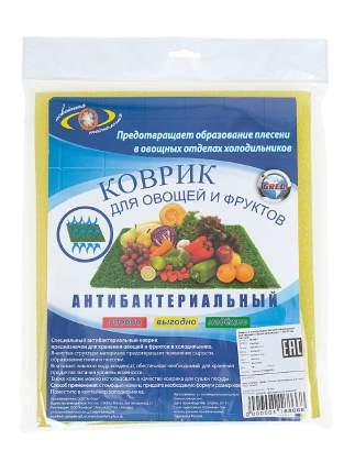 Коврик в холодильник Антибактериальный для овощей и фруктов Комфорт +, 50х30 см, желтый