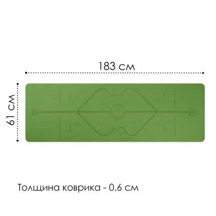Коврик для йоги и фитнеса, толщина 0,6 см, зеленый, 183х61х0,6 см, Atlanterra AT-YM-08