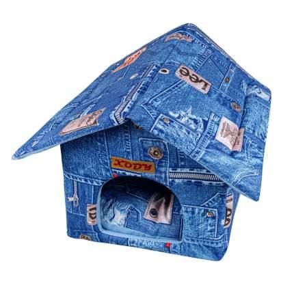 Домик для кошек и собак Xody Будка №1, хлопок, джинс, синий, 32x30x30см