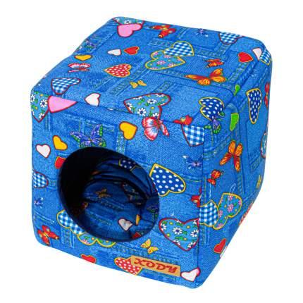 Домик для кошек и собак Xody Куб трансформер №1, хлопок, джинс, синий, 30x33x30см