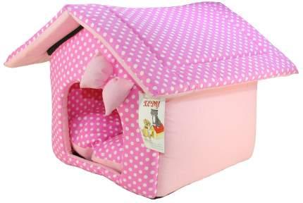 Домик для кошек и собак Xody Будка №1, хлопок, розовый, 32x30x30см