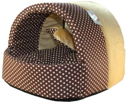 Домик для кошек и собак Xody с игрушкой, мех, коричневый, 43x32x34см
