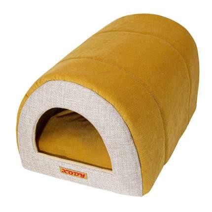 Домик для кошек и собак Xody Тоннель №1, флок, OLIVE, желтый, 50x36x30см
