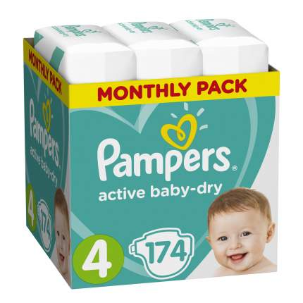 Подгузники Pampers Active Baby-Dry maxi (8-14 кг), 174 шт.