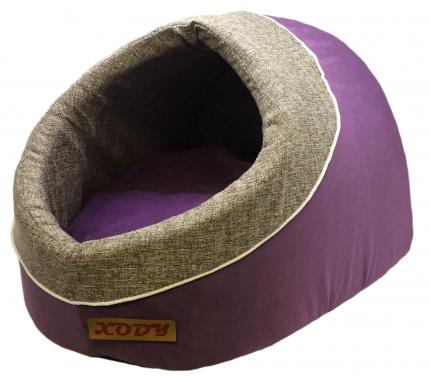 Домик для кошек и собак Xody Лукошко, флок, VIOLET, фиолетовый, 43x32x34см