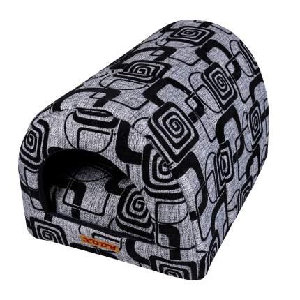 Домик для кошек и собак Xody Тоннель №1, флок, серый, 50x36x30см