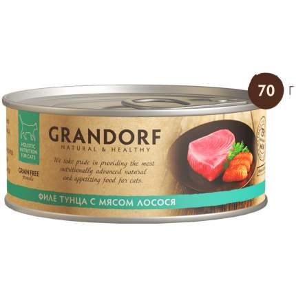 Консервы для кошек Grandorf, с филе тунца и мясом лосося, 70г