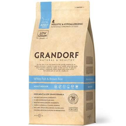 Сухой корм для кошек Grandorf Adult Indoor, низкозерновой, белая рыба с бурым рисом, 2кг