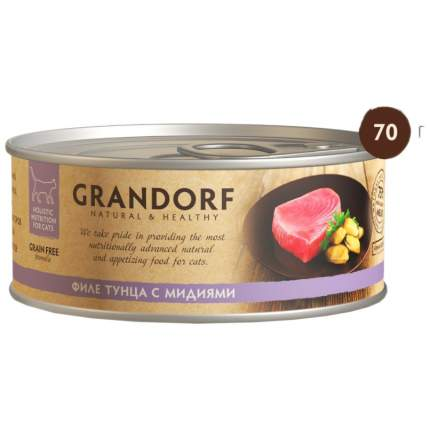 Консервы для кошек Grandorf, с филе тунца и мидиями, 70г