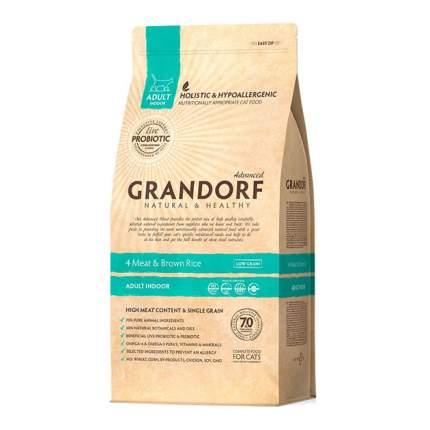 Сухой корм для кошек Grandorf Probiotic Indoor, для домашних, 4 вида мяса и рис, 2кг