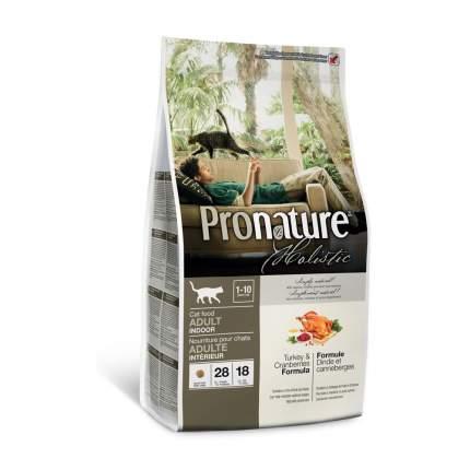 Сухой корм для кошек Pronature Holistic Indoor, для домашних, индейка и клюква, 5,44кг