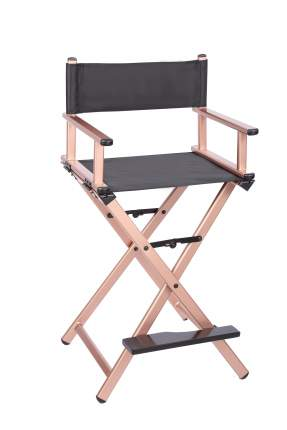 Разборный современный стул визажиста из алюминия OKIRO (золотой)