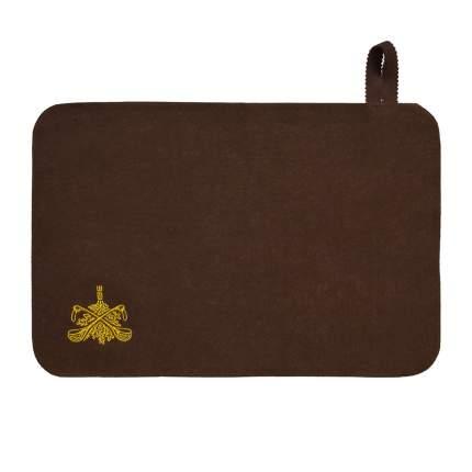 Коврик для сауны Банные штучки, с вышитым логотипом, коричневый, войлок