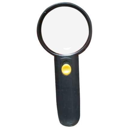 Лупа просмотровая BRAUBERG С ПОДСВЕТКОЙ диаметр 65 мм увеличение 4 корпус черный 454129