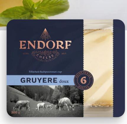 Сыр твердый Эндорф Грюйер 50% бзмж 200 г