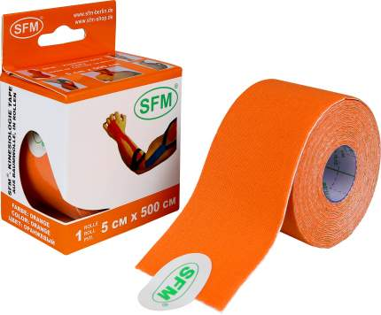 Лейкопластырь кинезио тейп 5 см Х 500 см SFM без лого оранжевый
