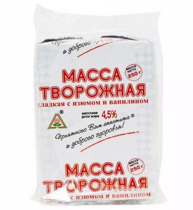 Творожная масса Пискаревский МЗ сладкая с изюмом и ванилином 4,5% бзмж