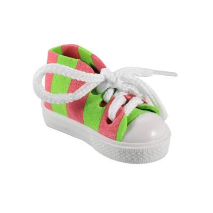 Брелок АЙРИС Кеды со шнурками полосатые для брелка 7*3,5*4см розово-зеленый
