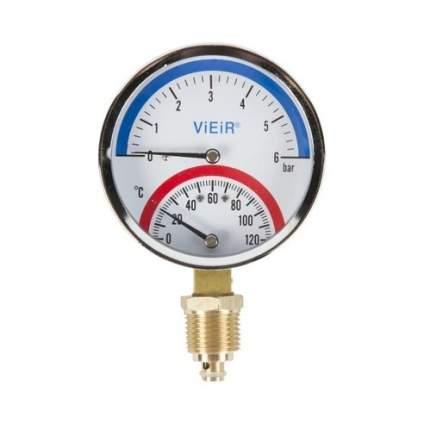"""Термоманометр ViEiR 1/2"""", вертикальный (80 мм/10 бар) (YE10)"""