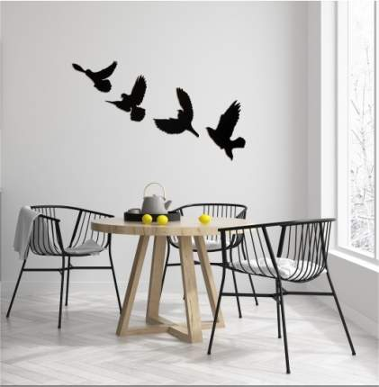 """Панно настенное из дерева """"Птицы"""", черное"""