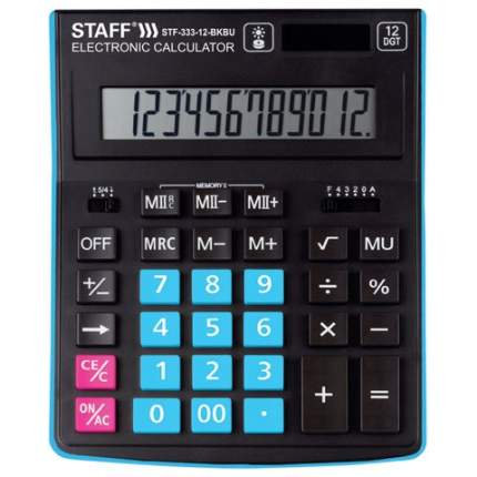 Калькулятор настольный STAFF PLUS STF-333-BKBU 200x154мм 12 разрядов,ЧЕРНО-СИНИЙ 250461