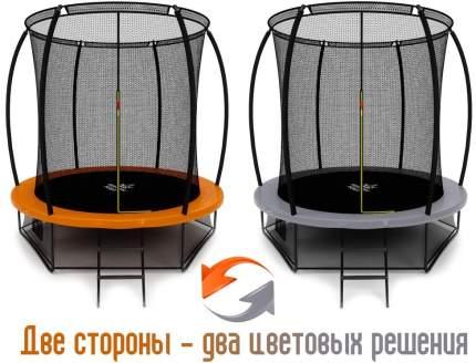 Батут Триумф Норд Премиальный 244 см двухцветный серый/оранжевый с лестницей