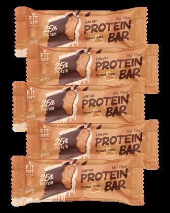 Fit Kit Protein BAR, 5шт по 60г (Арахисовый торт)