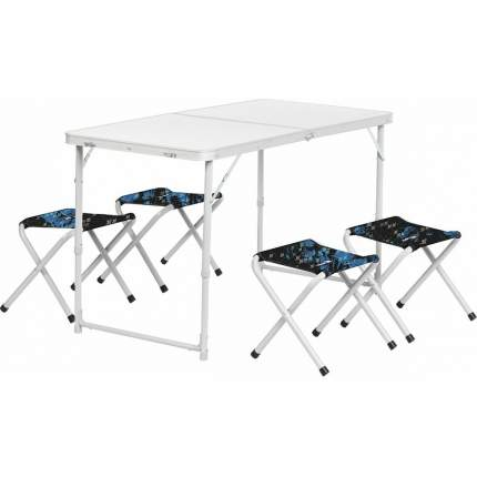 Nisus Набор мебели (АЛЮМ), стол+4табурета (21407+21124) SHARK (N-FS-21407+21124AS) NISUS