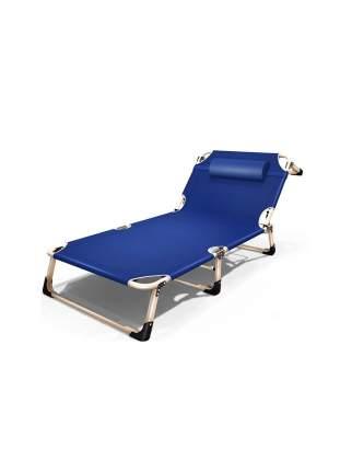 Раскладушка с подушкой URM, 194х68х30 см, синяя